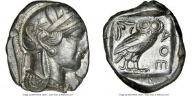 ATTICA. Athens. Ca. 440-404 BC. AR tetradrachm (26mm, 17.16 gm, 6h). NGC Choice XF 3/5 - 3/5, brushed. Mid-mass coinage issue. Head of Athena right, w...