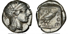ATTICA. Athens. Ca. 440-404 BC. AR tetradrachm (24mm, 17.14 gm, 12h). NGC XF 4/5 - 4/5. Mid-mass coinage issue. Head of Athena right, wearing crested ...