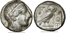 ATTICA. Athens. Ca. 440-404 BC. AR tetradrachm (24mm, 17.17 gm, 4h). NGC Choice VF 5/5 - 3/5. Mid-mass coinage issue. Head of Athena right, wearing cr...