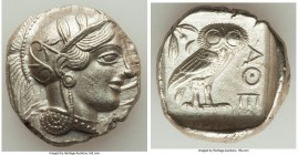 ATTICA. Athens. Ca. 440-404 BC. AR tetradrachm (26mm, 17.20 gm, 6h). Choice AU. Mid-mass coinage issue. Head of Athena right, wearing crested Attic he...