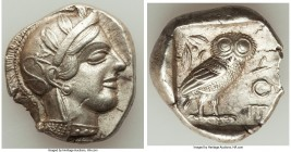 ATTICA. Athens. Ca. 440-404 BC. AR tetradrachm (25mm, 16.93 gm, 2h). Choice XF, flan flaw. Mid-mass coinage issue. Head of Athena right, wearing crest...