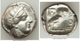 ATTICA. Athens. Ca. 440-404 BC. AR tetradrachm (26mm, 17.13 gm, 8h). AU. Mid-mass coinage issue. Head of Athena right, wearing crested Attic helmet or...