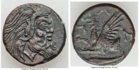 CIMMERIAN BOSPORUS. Panticapaeum. 4th century BC. AE (20mm, 6.81 gm, 1h). XF. Head of bearded Pan right / Π-A-N, forepart of griffin left, sturgeon le...
