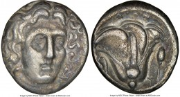 CARIAN ISLANDS. Rhodes. Ca. 305-275 BC. AR didrachm (20mm, 1h). NGC Choice VF. Head of Helios facing, turned slightly right, hair parted in center and...