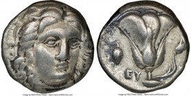 CARIAN ISLANDS. Rhodes. Ca. 305-275 BC. AR didrachm (18mm, 11h). NGC VF. Head of Helios facing, turned slightly right, hair parted in center and swept...