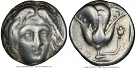 CARIAN ISLANDS. Rhodes. Ca. 305-275 BC. AR didrachm (17mm, 12h). NGC Fine. Head of Helios facing, turned slightly right, hair parted in center and swe...