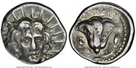 CARIAN ISLANDS. Rhodes. Ca. 250-230 BC. AR didrachm (21mm, 11h). NGC VF. Erasicles, magistrate. Radiate facing head of Helios, turned slightly right, ...