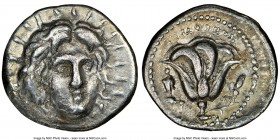 CARIAN ISLANDS. Rhodes. Ca. 250-200 BC. AR didrachm (21mm, 12h). NGC Fine. Timotheus, magistrate. Radiate head of Helios facing, turned slightly right...