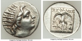 CARIAN ISLANDS. Rhodes. Ca. 88-84 BC. AR drachm (14mm, 2.23 gm, 12h). XF. Plinthophoric standard, Euphanes, magistrate. Radiate head of Helios right /...