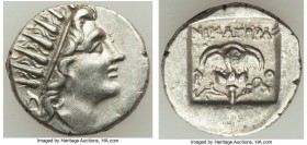 CARIAN ISLANDS. Rhodes. Ca. 88-84 BC. AR drachm (15mm, 2.65 gm, 12h). Choice XF. Plinthophoric standard, Nicagoras, magistrate. Radiate head of Helios...