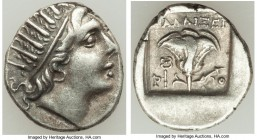 CARIAN ISLANDS. Rhodes. Ca. 88-84 BC. AR drachm (16mm, 2.60 gm, 10h). XF. Plinthophoric standard, Callixei(nos), magistrate. Radiate head of Helios ri...