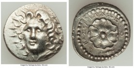 CARIAN ISLANDS. Rhodes. Ca. 84-30 BC. AR drachm (24mm, 4.31 gm, 11h). AU. Basileidas, magistrate. Radiate head of Helios facing, turned slightly left,...