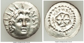 CARIAN ISLANDS. Rhodes. Ca. 84-30 BC. AR drachm (24mm, 4.29 gm, 5h). AU. Charmios, magistrate. Radiate head of Helios facing, turned slightly left, ha...