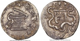 LYDIA. Sardes. Ca. 166-128 BC. AR cistophorus (25mm, 12.77 gm, 1h). NGC AU 4/5 - 4/5. Ca. 166-160 BC. Serpent emerging from cista mystica; all within ...