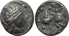 "EASTERN EUROPE. Imitations of Philip II of Macedon (2nd-1st centuries BC). Drachm. Mint in the region of Velem, Hungary. ""Kapostaler"" type."