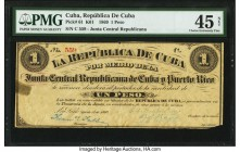 Cuba Republica de Cuba 1 Peso 1869 Pick 61 PMG Choice Extremely Fine 45 Net. Tape repair, thinning, corner missing. From the El Don Diego Luna Collect...