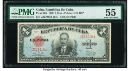 Cuba Republica de Cuba 1 Peso 1949 Pick 69h PMG About Uncirculated 55. As made ink. From the El Don Diego Luna Collection  HID09801242017  © 2020 Heri...