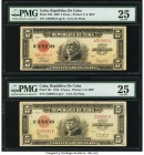 Cuba Republica de Cuba 5 Pesos 1938; 1943 Pick 70d; 70e PMG Very Fine 25 (2). Two date variety examples. Minor rust is noted on Pick 70e. From the El ...
