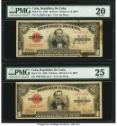 Cuba Republica de Cuba 10 Pesos 1934; 1938 Pick 71a; 71d PMG Very Fine 20; Very Fine 25. Two date variety examples. Stains and annotations are noted o...