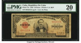 Cuba Republica de Cuba 10 Pesos 1943 Pick 71e PMG Very Fine 20. Ink and annotation are noted. From the El Don Diego Luna Collection  HID09801242017  ©...