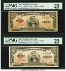 Cuba Republica de Cuba 10 Pesos 1945; 1948 Pick 71f; 71g PMG Very Fine 25 (2). Two date variety examples. Minor rust is noted on Pick 71g. From the El...