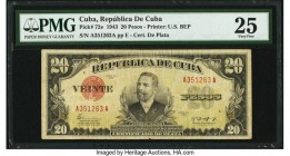 Cuba Republica de Cuba 20 Pesos 1943 Pick 72e PMG Very Fine 25. Minor paper pull is noted. From the El Don Diego Luna Collection  HID09801242017  © 20...