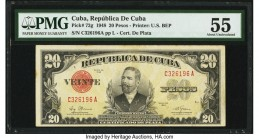 Cuba Republica de Cuba 20 Pesos 1948 Pick 72g PMG About Uncirculated 55. From the El Don Diego Luna Collection  HID09801242017  © 2020 Heritage Auctio...