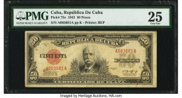 Cuba Republica de Cuba 50 Pesos 1943 Pick 73e PMG Very Fine 25. Rust is noted. From the El Don Diego Luna Collection  HID09801242017  © 2020 Heritage ...