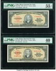 Cuba Banco Nacional de Cuba 20 Pesos 1949; 1958 Pick 80a; 80b PMG About Uncirculated 55 EPQ; Extremely Fine 40. Two date variety examples. From the El...