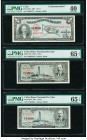 Cuba Banco Nacional de Cuba 1 Peso 1953; 1956; 1957 Pick 86a; 87a; 87b PMG Extremely Fine 40; Gem Uncirculated 65 EPQ (2). Three date variety examples...