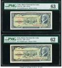 Cuba Banco Nacional de Cuba 5 Pesos 1960 Pick 91c PMG Choice Uncirculated 63; Uncirculated 62. Two stamp and serial number color varieties. From the E...