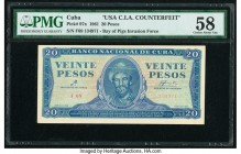 Cuba Banco Nacional de Cuba 20 Pesos 1961 Pick 97x C.I.A. Counterfeit PMG Choice About Unc 58. Prefix F69 with serial number variety. From the El Don ...