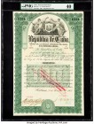 Cuba Republica de Cuba 100 Pesos 1905 Internal Debt Bond PMG Extremely Fine 40. Stamp cancelled. From the El Don Diego Luna Collection  HID09801242017...