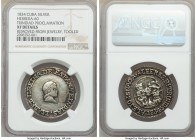 "Isabel II silver ""Trinidad"" Proclamation Medal 1834 XF Details (Removed From Jewelry, Tooled) NGC, Herrera-60. 32mm. From the El Don Diego Luna Collec..."