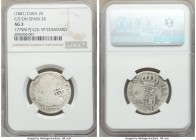 Spanish Colony. Isabel II 4-Piece Lot of Certified Counterstamped Multiple Reales ND (1841) NGC, 1) 2 Reales - AG3. Countermarked on Spanish 2 Reales,...