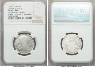 Spanish Colony. Isabel II 4-Piece Lot of Certified Counterstamped Multiple Reales ND (1841) NGC, 1) 2 Reales - VG Details (Harshly Cleaned). Counterma...