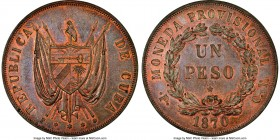Provisional Republic copper Proof Pattern Peso 1870 P-CT PR62 Red and Brown NGC, Potosi mint, KM-X5a. A shimmering Proof selection displaying a predom...