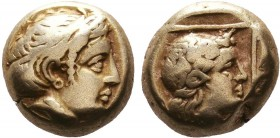 LESBOS. Mytilene. Circa 377-326 BC. EL. Laureate head of Apollo to right. Rev. Head of a female to right within linear square. Bodenstedt 95. SNG von ...