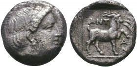 TROAS, Antandros. Circa 400 BC. AR Hemidrachm. ead of Artemis Astyrne right, thin band in hair, earring. / Goat standing right, left leg raised, ANT/A...