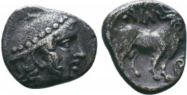 THRACE, Ainos. Circa 400 BC. AR , Head of Hermes wearing petasos / Goat walking in shallow incuse square, vine tendril in front.   Condition: Very Fin...