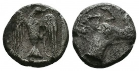 Kings of Thrace, Sparadokos AR Diobol. Circa 425 BC. Forepart of horse left; retrograde B(?) on horse, ΣΠA around / Eagle flying left, holding serpent...