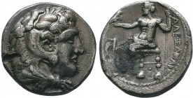 "Kings of Macedon . Alexander III. ""The Great"" (336-323 BC). AR Drachm   Condition: Very Fine  Weight:15.68 gr Diameter: 27 mm"