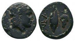 TROAS. Neandria. Ae (4th century BC). Obv: Laureate head of Apollo right. Rev: NEAN. Grain ear; grape bunch to right. SNG Ashmolean 1175; SNG Copenhag...
