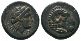 TROAS. Kebren. Ae (Circa 400-387 BC). Obv: Head of ram right; below, sea eagle standing right. Rev: K - E. Laureate head of Apollo right. SNG Copenhag...