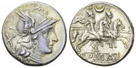 Anonymous AR Denarius, 211-206 BC 