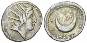 L. Lucretius Trio AR Denarius, 76 BC 
