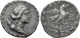 TROAS. Abydos. Drachm (Circa 80-70 BC). Stephanophoric type. Iphiades, magistrate.