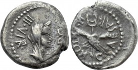 OCTAVIAN. Quinarius (Late 40-early 39 BC). Military mint travelling with Octavian in Gaul.