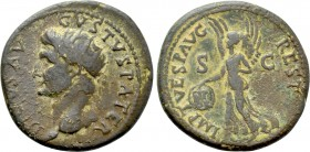 DIVUS AUGUSTUS (Died 14). Dupondius. Rome. Restitution issue struck under Titus.