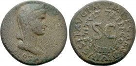 JULIA AUGUSTA (LIVIA) (Augusta, 14-29). Dupondius. Rome. Restitution issue struck under Titus.